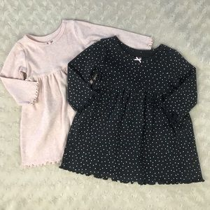 Carter's Baby Girl Dress Bundle Pink Gray Dots 6M